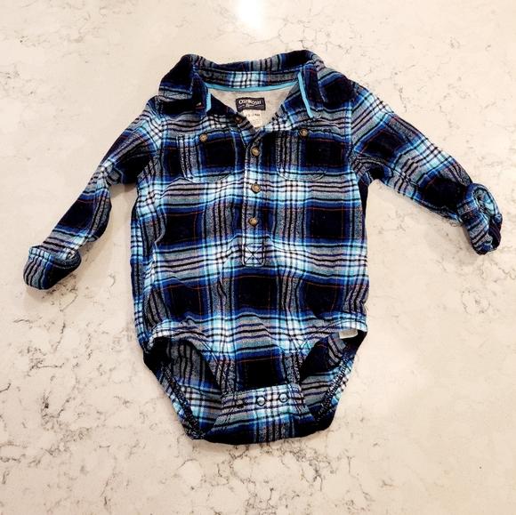 Baby boy Oshkosh flannel onesie